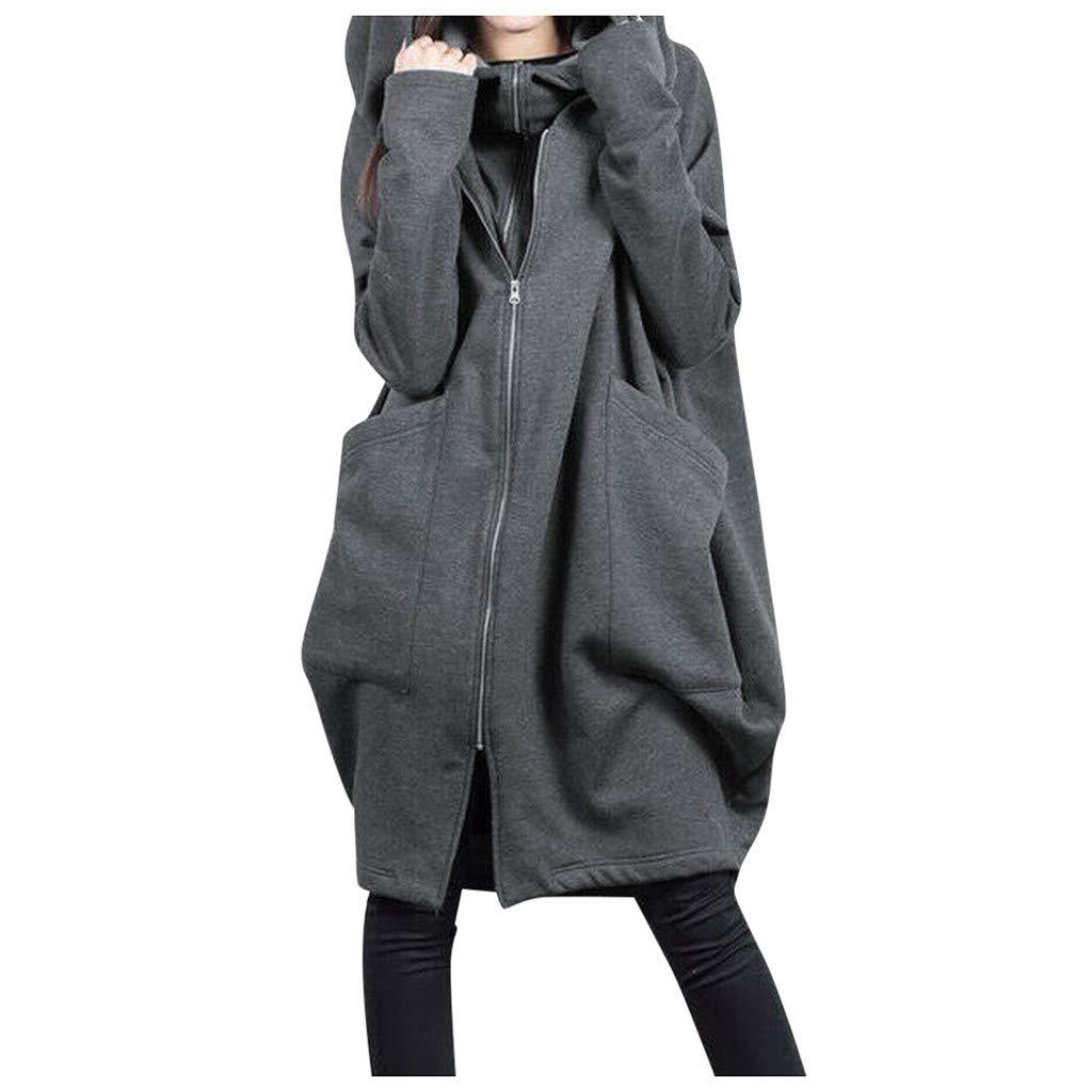 Fammison Womens Zip Up Long Hoodie Jacket Tunic Sweatshirt Open Front Cardigan Jacket Coat Tops Gray by Fammison