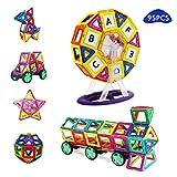 HCLIFE Magnetic Building Blocks Tiles Kit - Creative Educational Construction Eco Stacking Toys Magnetic Tile Set 95 Pcs Baby Kids Girls Boys