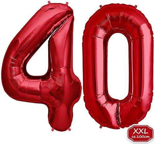 Folienballons f/ür Luft oder Helium als Geburtstag Party Dekoration Folienballon Zahl in Blau Hochzeit Jubil/äum oder Abschluss Geschenk Blau XXL 40//100cm Riesenzahl 100cm Ballon