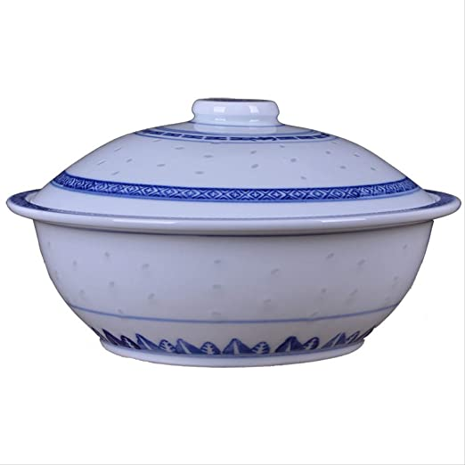 Cuenco para sopa con tapa de porcelana, color azul, tamaño grande ...