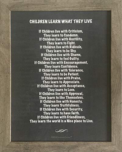 (Framed Black and White Chalkboard Design, Typography Blackboard Chalk Art, Nursery Decor, Children Learn What They Live)