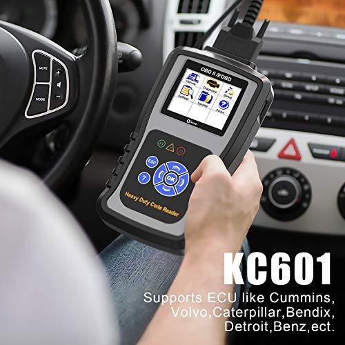 Kzyee KC601 Heavy Duty Scan Tool, HD Truck Diagnostic Scanner Transmission  DPF Code Reader/Eraser with Live Data/ECU Info for J1587/J1708 J1939 Class