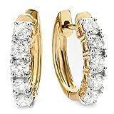 1.00 Carat (ctw) 18K Yellow Gold Round White Diamond Ladies Huggies Hoop Earrings 1 CT
