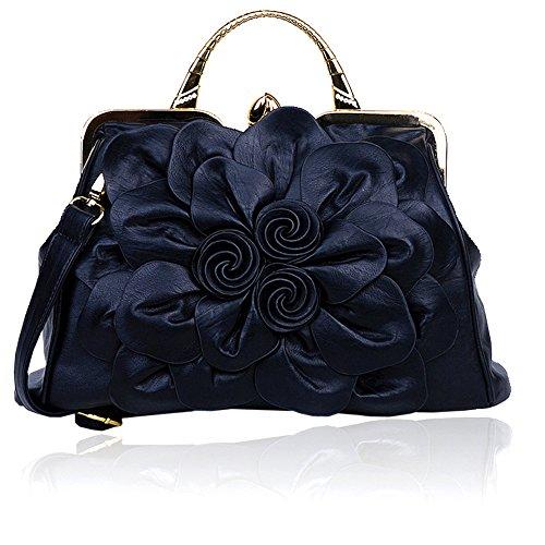 Stereo Rose Handbag Flower Leather Cute Purse Clutch Satchel Evening Bag Work Place Shoulder Bag for Women Female