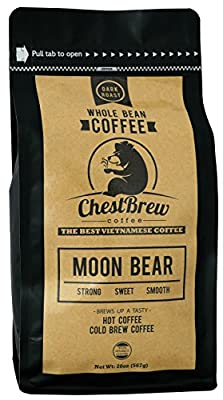 Chestbrew Whole Bean Coffee. Strong Dark Roast Vietnamese Coffee - Moon Bear Premium 20 Ounce Bag by ChestBrew