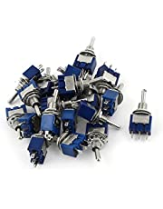 DealMux a15010500ux0842 SPDT ON-OFF-ON 3 Pin Latching Miniature Toggle Switch, 20 Piece, AC125V 6 Amp