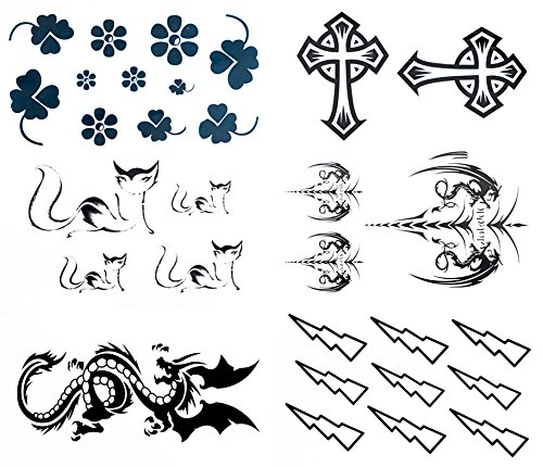 Black and Blue Male Cat, Cross, Dragon, Blot, and Clover Leaves Temporary Sticker Body Tattoos Set of 6 Sheets for girls, women, kids, and men size 6cm x 10.5cm Approximately