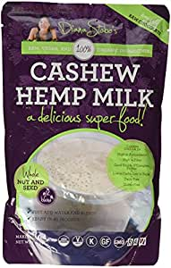 Nutritional Shake and Meal Replacement Diana Stobo's Cashew Hemp Milk RAW Organic Protein Blend, Blended with LOVE - Chocolate Flavored - 7 oz. Makes 40 Ounces (1 Quart) of 100% Organic, Raw, Healthy, Vegan, Gluten-Free, and Non-Dairy Deliciousness!