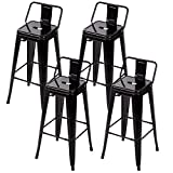 "Cheap 30"" Metal Frame Tolix Style Bar Stools Industrial Chair with Back, Set of 4"