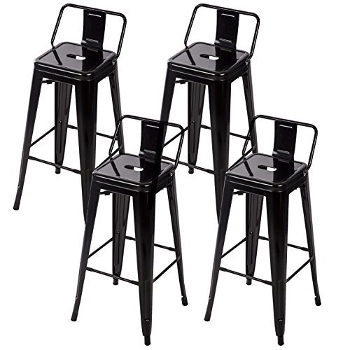30'' Metal Frame Tolix Style Bar Stools Industrial Chair with Back, Set of 4 (Stool Industrial Backless Base Low)