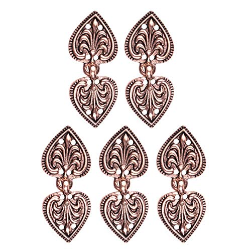 YiZYiF 5 Pairs Vintage Cape or Cloak Clasp Heart/Flower Shape Sew On Hooks and Eyes Cardigan Clip Fasteners Clothing Accessory Copper Type -