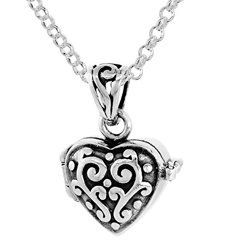 Sterling Silver Prayer Box Necklace Heart Shape Floral Design, 1/2 inch 18 inch Chain (Shaped Prayer Box)