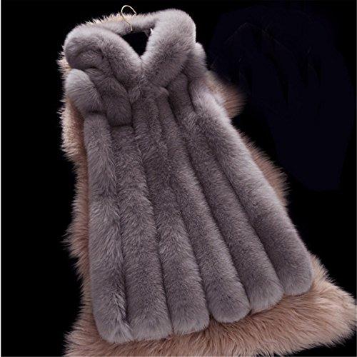 Sintetica Prendas Chaleco Longra pelo ❤️ Oscuro largo de Gris Chaleco mangas Mujeres abrigo De Escudo Outwear de Chaleco sin Piel rrtwAEqv
