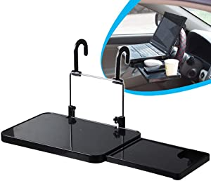 Fanbiya Car Steering Wheel Seat Tray Table, Auto Fold-able Laptop Desk for Food Dining Lunch Drink Working