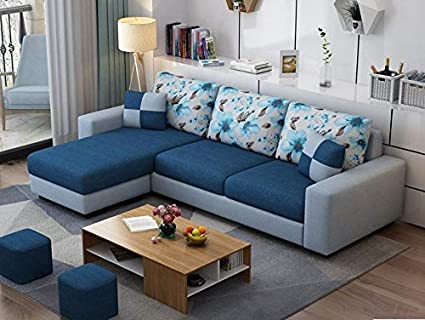 Casaliving Rolando L Shape Modern Fabric Sofa Set For Living Room Navy Blue And Grey Amazon In Home Kitchen