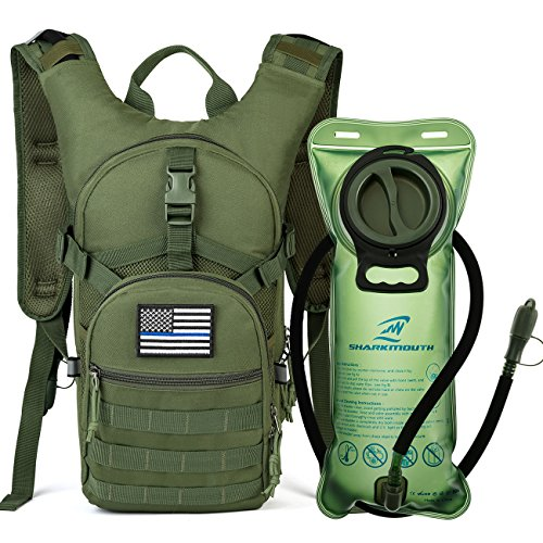 - SHARKMOUTH Tactical MOLLE Hydration Pack Backpack 900D with 2L Leak-Proof Water Bladder, Keep Liquids Cool for Up to 4 Hours, Outdoor Daypack for Cycling, Hiking, Running, USA Flag Patch,Green