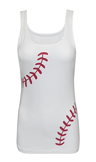 5929266cf7072 Amazon.com  Zone Apparel Women s Baseball Tank Top - Fitted Laces Shirt   Clothing