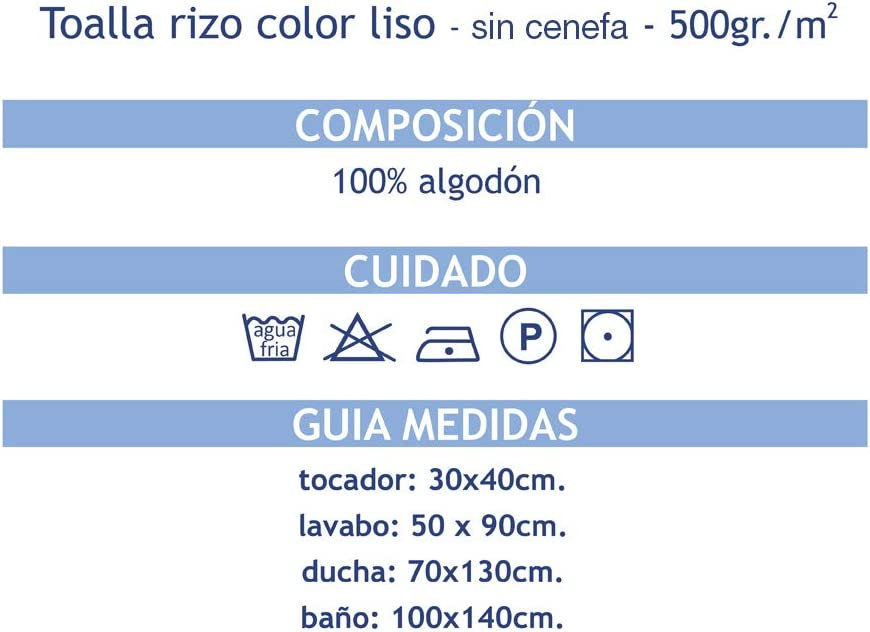 70X130 MI CASA Azul Toalla Pool Ducha 500GR 100/% Algod/ón