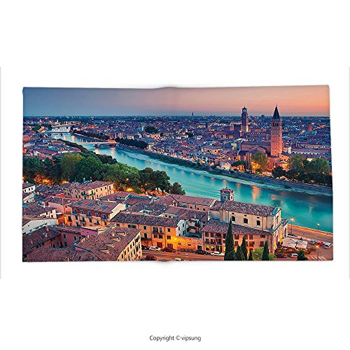 Verona Tv Chest (Custom printed Throw Blanket with European Verona Italy During Summer Sunset Blue Hour Adige River Medieval Historcal Aqua Coral Green Super soft and Cozy Fleece Blanket)