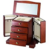 Wooden Jewelry Box Walnut Upright Storage Chest with Interior Mirror on Top Boxes for Girls,Women