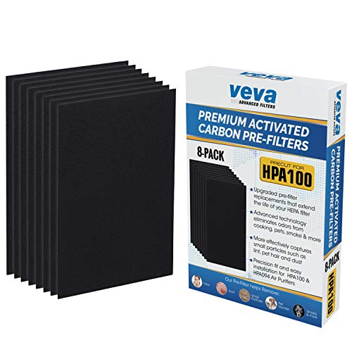 VEVA Precut for HPA100 Premium Carbon Activated Pre Filters 8 Pack Compatible with HW Air Purifier Models 090, 094, 100, 104, 105, HA106. Precision Fit for Easy Installation Advanced Filters