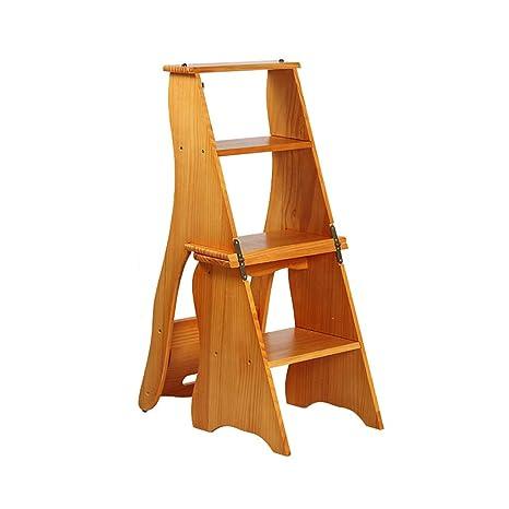 Amazon.com: Escalera plegable de madera escalera 4 pasos ...