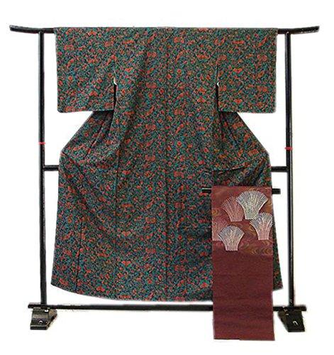 博多着物市場 きものしらゆり 縮緬地 花鳥文様 小紋 なごや帯 正絹 仕立上り たいこ柄