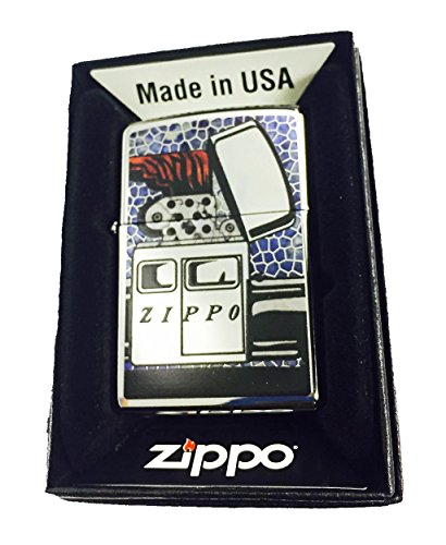 (Zippo Custom Lighter - Vintage Zippo Car Fusion Design High Polish Chrome)