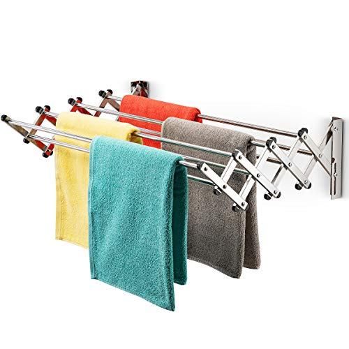 Bartnelli Accordion Wall Mounted Drying Rack | 8 Smooth Round Stainless Steel Rods | Huge 22 Linear Feet Capacity | Compact Sleek Design | Ideal for Heavy Wet Towels or Delicates | 60lb Capacity - Foot Rack