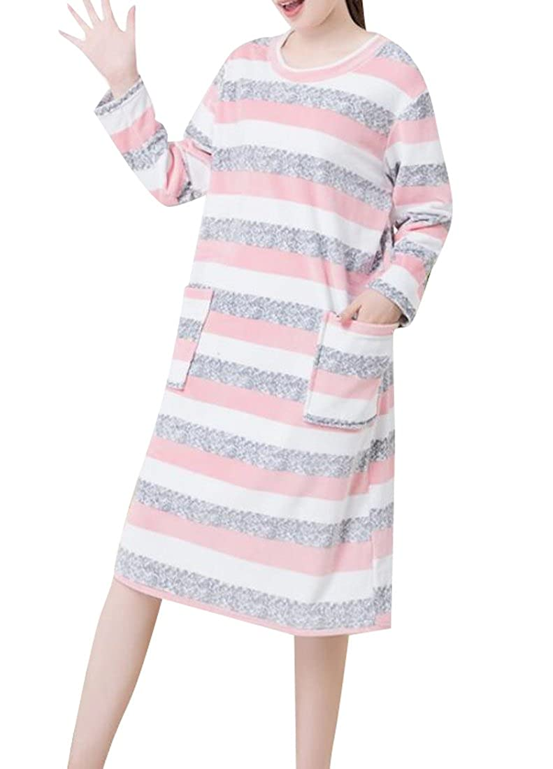 KLJR-Women Print Sleepwear Long Flannel Soft Fleece Loungewear