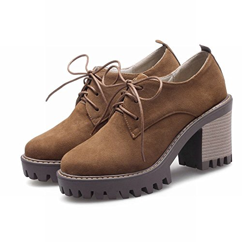 Carolbar Mujeres Lace-up Retro Chunky High Heel Oxfords Zapatos Camel
