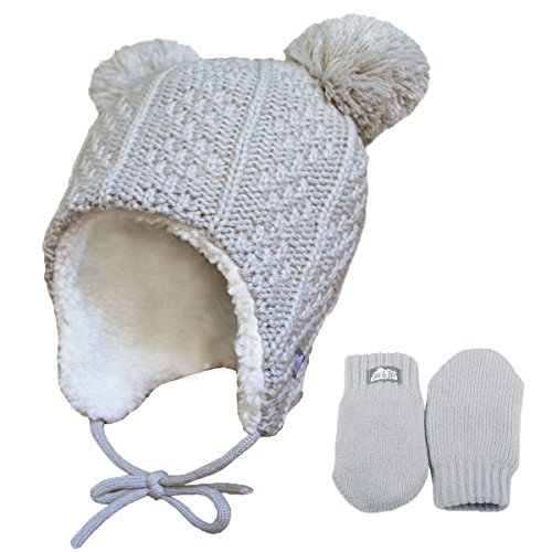 Baby toddler warm fall WINTER HAT & Mitten fleece lined unisex (S: 3-9 Months, Hat & Mitten Set: Grey bear)