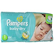 Pampers Baby Dry Newborn Diapers, Size 1, 44 Count (Pack of 2)