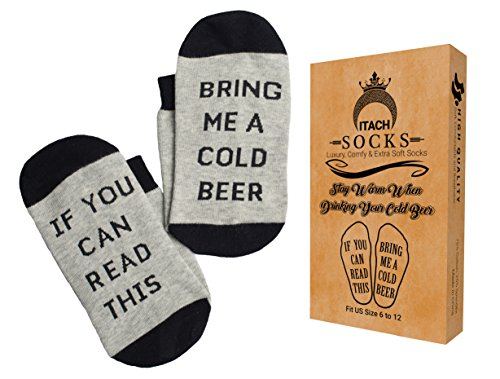 ITACH Premium Beer Sock in Perfect Gift Box | If You Can Read This Bring Me A Cold Beer | Funny Gift Idea for Beer Lovers, Best Friend and more - Black and Gray (Beer Packages For Gifts)