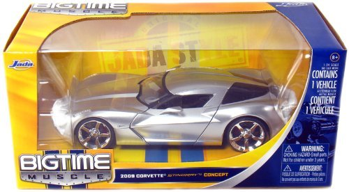 Jada Toys 1/24 Scale Diecast Big Time Muscle 2009 Corvette Sting Ray Concept in Color Silver