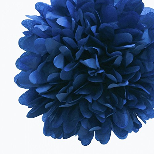 Quasimoon 8'' Navy Blue Tissue Paper Pom Pom Flowers, Hanging Decorations (4 Pack) (Pre-Folded) by PaperLanternStore