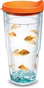 Tervis Goldfish Tumbler with Wrap and Orange Lid 24oz, Clear