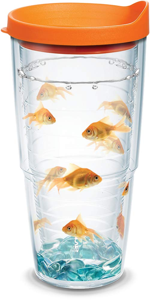 Tervis 1078928 Goldfish Tumbler with Wrap and Orange Lid 24oz, Clear