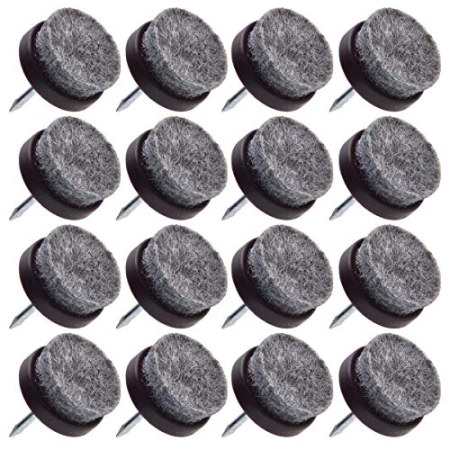 16pcs - Small Espresso Color - Heavy Duty Nail On Felt Pads Slider Glide Pads for Chairs, Table, Stools, Drawer, Wardrobe - Hard Wood, Tile Floor Protector