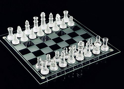 Fine Glass Chess Game Set, Solid Glass Chess Pieces and Crystal Mirror Chess Board 10 x 10 inches for Youth Adults Gift Present