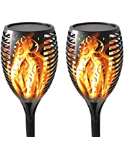 CES TLAVIE Solar Torch Light with Flickering Flame, Waterproof Torch Lights Outdoor Solar Spotlights Landscape Decoration Lighting,Dusk to Dawn Lighting Lamp for Garden Pathways Yard Patio Path 2 Pack