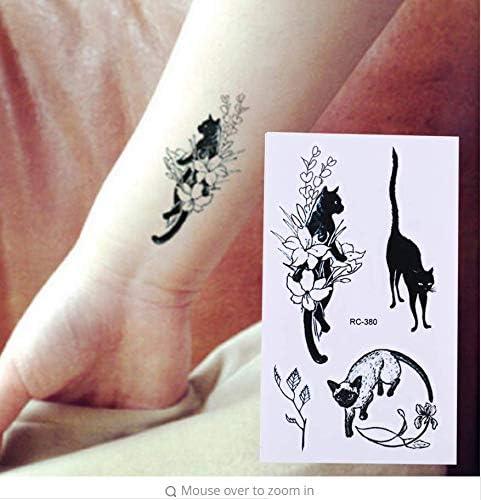 MRKAL 10.5X6 CM Sexy Gato Negro Tatuaje Temporal Body Art Arm ...