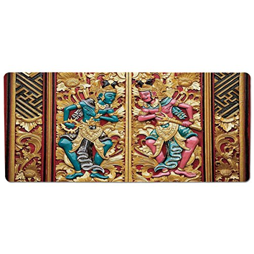 iPrint Pet Mat for Food and Water,Balinese Decor,Temple Door in Indonesia with Traditional Carved Golden Leaves Flowers Patterns,Gold Brown,Rectangle Non-Slip Rubber Mat for Dogs and Cats -