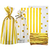 Gejoy 100 Pieces Clear Cello Bags Gold Polka Dot Stripe Treat Bags with 200 Pieces Twist Ties for Chocolate Candy Snack Cookie Wrapping