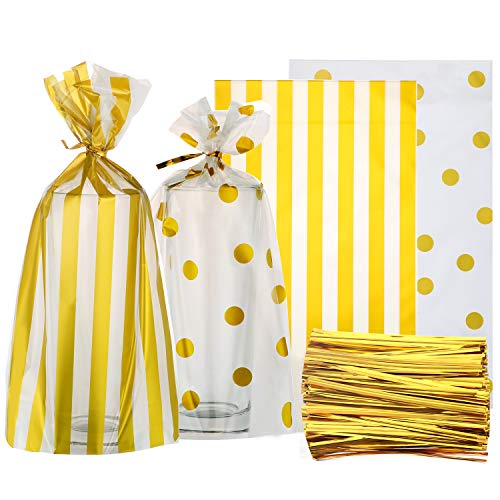 Gejoy 100 Pieces Clear Cello Bags Gold Polka Dot Stripe Treat Bags with 200 Pieces Twist Ties for Chocolate Candy Snack Cookie Wrapping ()