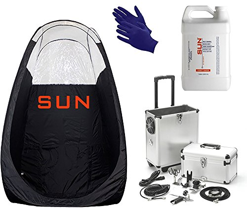 Mobile Sunless Spray Tan Machine - Professional Airbrush Tan with Tent, Solution + Tanning Gloves - Natural Sunless Airbrush HPLV, Body and Face for Bronzing and Golden Tan - Very Dark Sunless