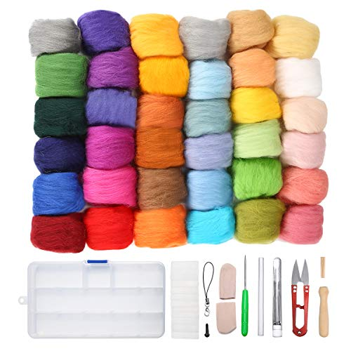 Jeteven 36 Colors Wool Yarn Roving, Fibre Hand Spinning DIY Craft for Needle Felting with 1 Set Needle Felting Kit Wool Felt - Wool Kit