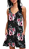 BISHUIGE Women's Sleeveless Pockets V-Neck Casual Dress Swing Casual T-Shirt Floral Black 2X-Large