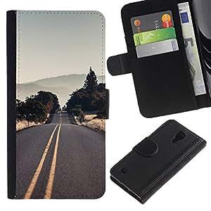"""A-type (Vaciar la carretera EE.UU."""") Colorida Impresión Funda Cuero Monedero Caja Bolsa Cubierta Caja Piel Card Slots Para Samsung Galaxy S4 IV I9500"""