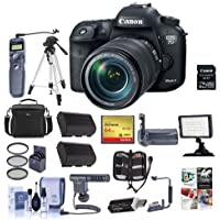Canon EOS 7D Mark II DSLR Camera with EF-S 18-135mm IS USM Lens and W-E1 Wi-Fi Adaper Kit - Bundle with 64GB SDXC Card, Remote Shutter Trigger, Filter Kit, Video light, Tripod, Software Pack and More